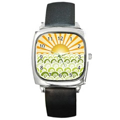 Along The Green Waves Square Leather Watch