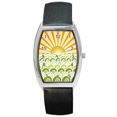 Along The Green Waves Tonneau Leather Watch