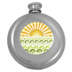 Along The Green Waves Hip Flask (Round)