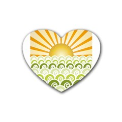 Along The Green Waves Drink Coasters 4 Pack (Heart)