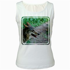 Red Wolf Womens  Tank Top (White)