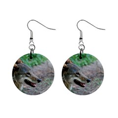 Red Wolf Mini Button Earrings