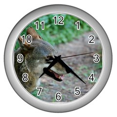 Red Wolf Wall Clock (silver)