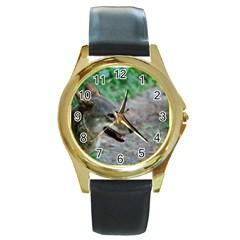 Red Wolf Round Metal Watch (Gold Rim)