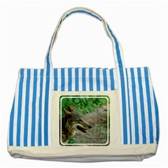 Red Wolf Blue Striped Tote Bag
