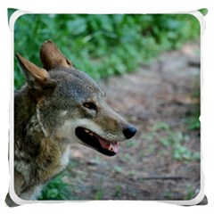 Red Wolf Large Cushion Case (one Side)