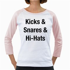 Kicks & Snares & Hi-Hats - Black Print Womens  Long Sleeve Raglan T-shirt (White)