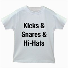 Kicks & Snares & Hi-Hats - Black Print Kids' T-shirt (White)