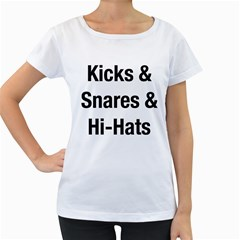 Kicks & Snares & Hi-Hats - Black Print Womens' Maternity T-shirt (White)