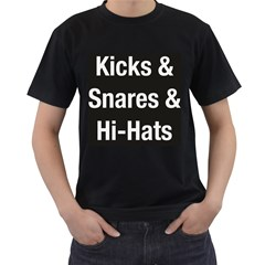 Kicks & Snares & Hi-Hats - White Print Mens' Two Sided T-shirt (Black)