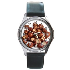 Hazelnuts Round Metal Watch (silver Rim)