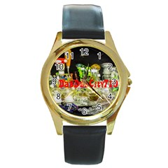 DabDabCity710 Round Metal Watch (Gold Rim)