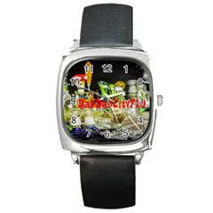 Dabdabcity710 Square Leather Watch