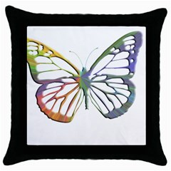 Colorful  Butterfly Black Throw Pillow Case
