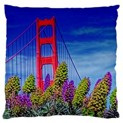 Colorful Flower s  N Front Of Bridge  Large Cushion Case (Two Sides)
