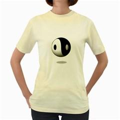 Yin Yang  Womens  T Shirt (yellow)