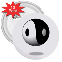 Yin Yang 3  Button (10 pack)