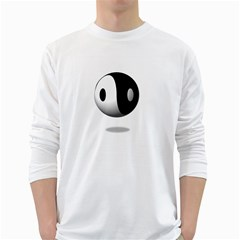 Yin Yang Mens' Long Sleeve T-shirt (White)