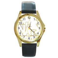 Gangnam Style Round Metal Watch (gold Rim)