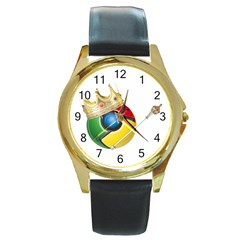Chrome King Round Metal Watch (Gold Rim)