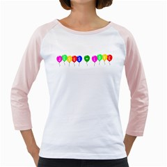 Balloons Womens  Long Sleeve Raglan T-shirt (White)