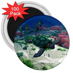 Sea Turtle 3  Magnet (100 Pack)