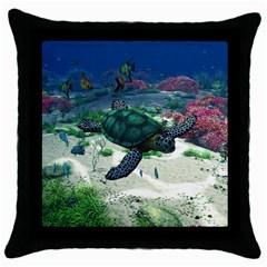 Sea Turtle Throw Pillow Case (black)