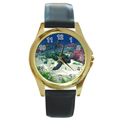 Sea Turtle Round Gold Metal Watch