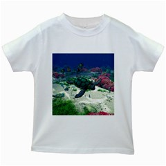 Sea Turtle Kids White T Shirt