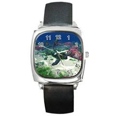 Sea Turtle Square Metal Watch
