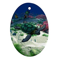 Sea Turtle Oval Ornament (Two Sides)
