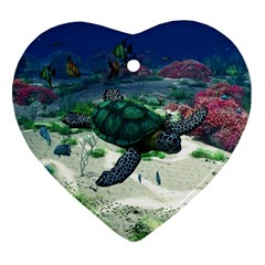 Sea Turtle Heart Ornament (two Sides)