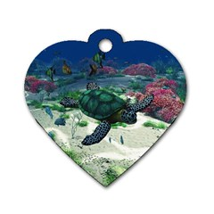Sea Turtle Dog Tag Heart (Two Sides)
