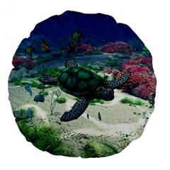 Sea Turtle 18  Premium Round Cushion
