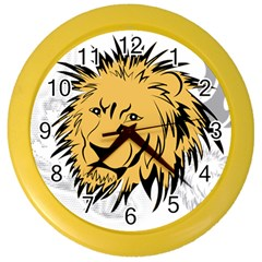 Lion Tattoo Color Wall Clock