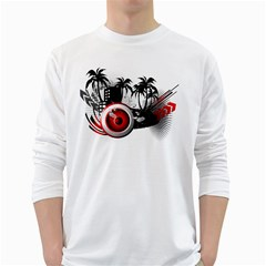 music, speaker Mens' Long Sleeve T-shirt (White)