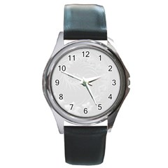 Light Gray Abstract Flowers Round Metal Watch (Silver Rim)