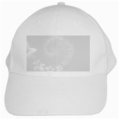 Light Gray Abstract Flowers White Baseball Cap