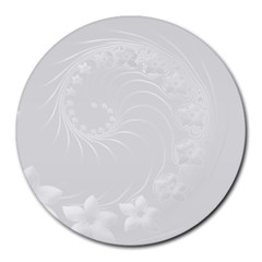 Light Gray Abstract Flowers 8  Mouse Pad (round)