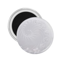 Light Gray Abstract Flowers 2.25  Button Magnet