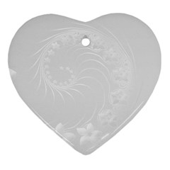 Light Gray Abstract Flowers Heart Ornament