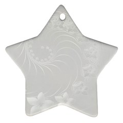 Light Gray Abstract Flowers Star Ornament