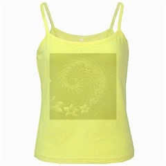 Light Gray Abstract Flowers Yellow Spaghetti Tank