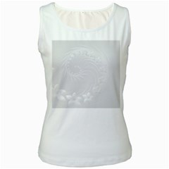 Light Gray Abstract Flowers Womens  Tank Top (White)