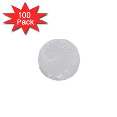 Light Gray Abstract Flowers 1  Mini Button (100 Pack)