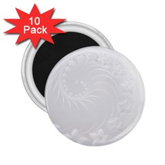 Light Gray Abstract Flowers 2 25  Button Magnet (10 Pack)