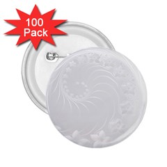 Light Gray Abstract Flowers 2.25  Button (100 pack)
