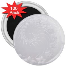 Light Gray Abstract Flowers 3  Button Magnet (100 pack)