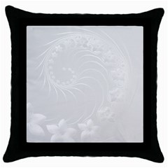 Light Gray Abstract Flowers Black Throw Pillow Case