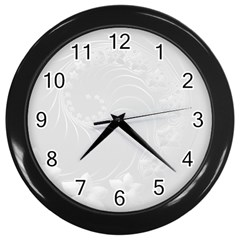 Light Gray Abstract Flowers Wall Clock (Black)